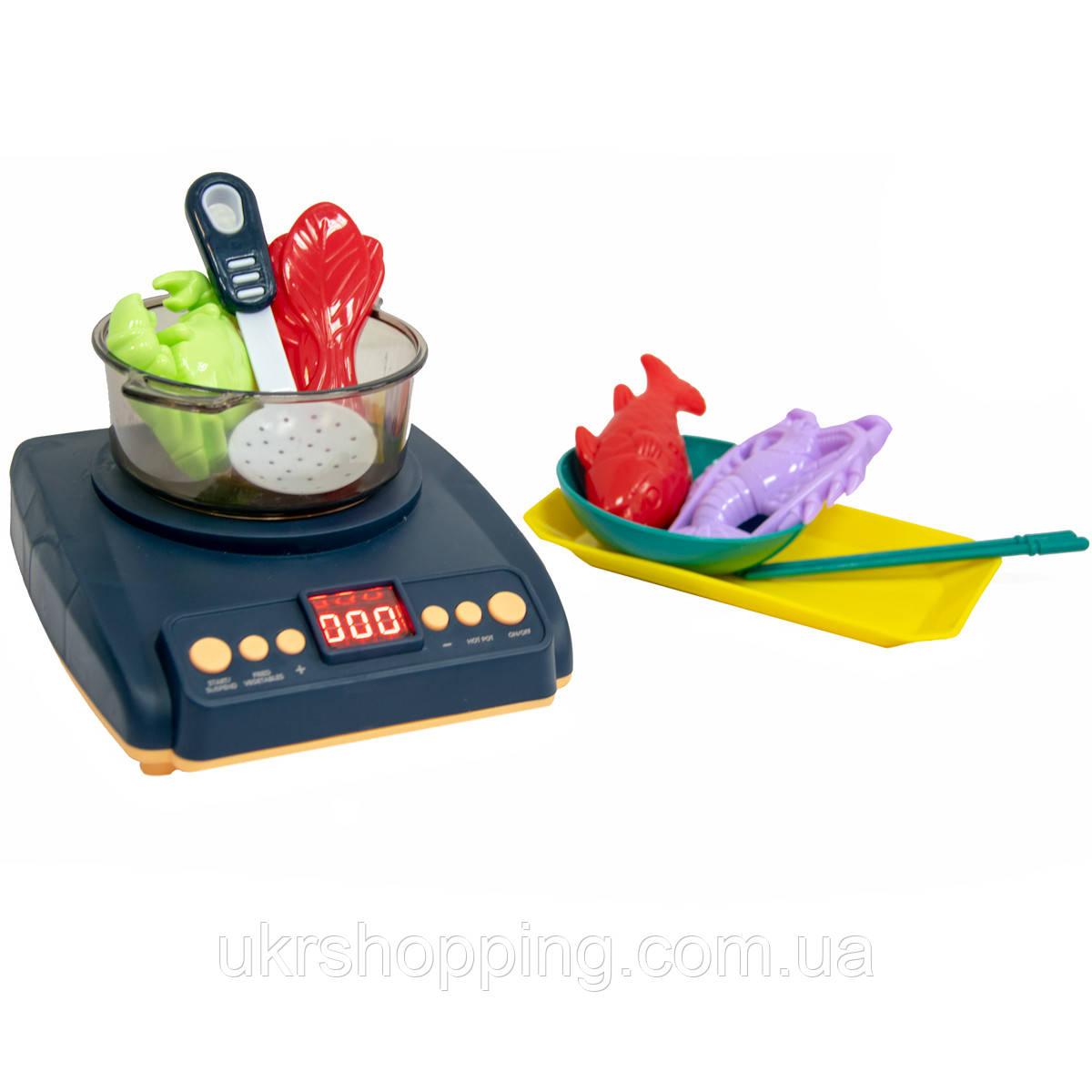 Игрушечная кухня для детей Induction cooker, игровая плита детская с паром и набор для лепки (SH)
