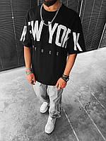 Мужская стильная чёрная футболка оверсайз NEW YORK