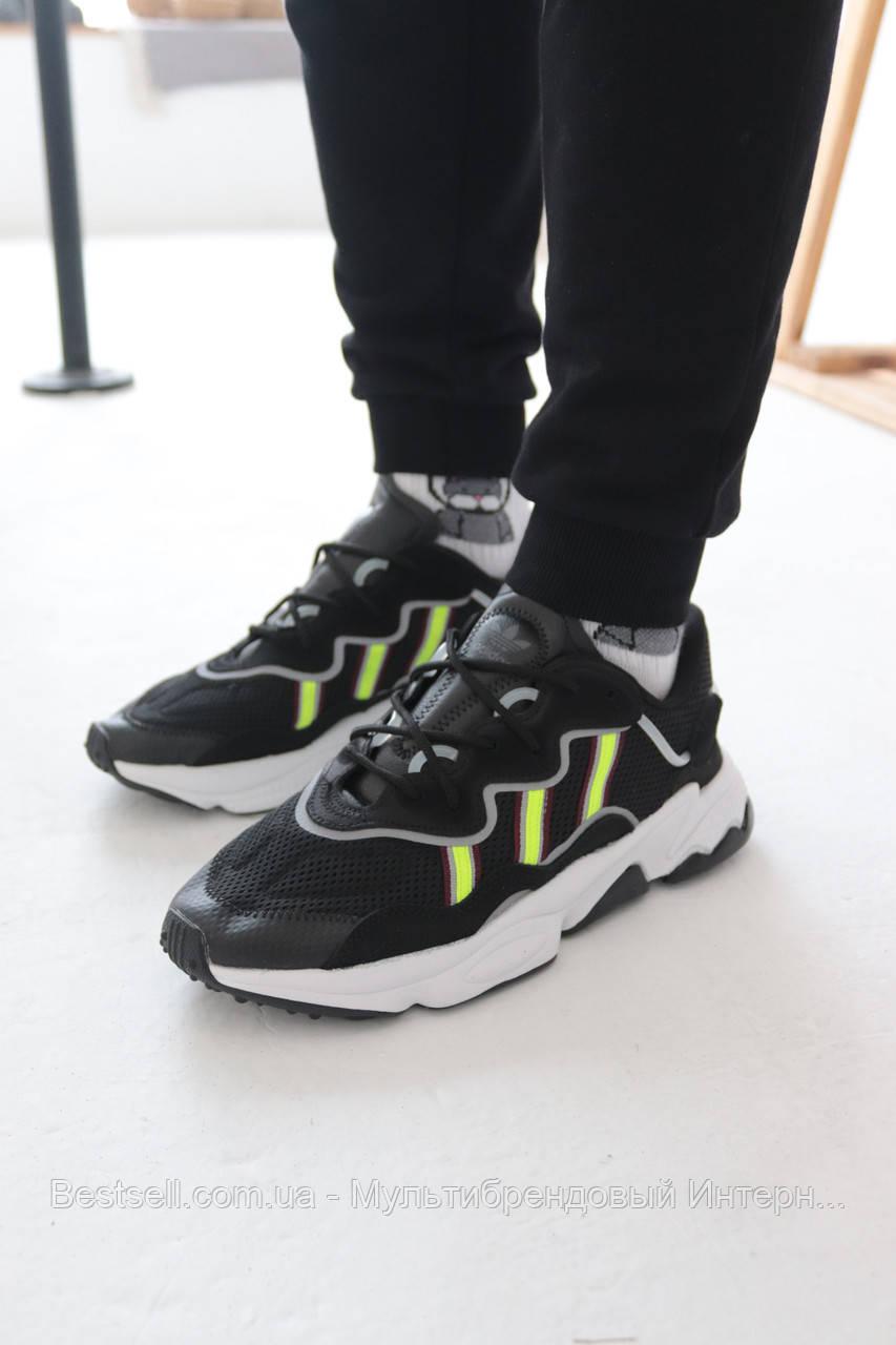 Кросівки Adidas Ozweego Black with colour Адідас Озвиго Чорні з салатовою вставкою (42,43,44,45)