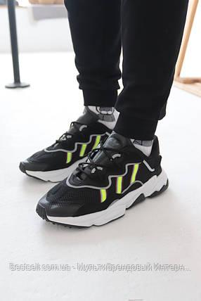Кросівки Adidas Ozweego Black with colour Адідас Озвиго Чорні з салатовою вставкою (42,43,44,45), фото 2