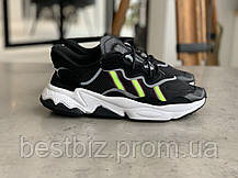 Кросівки Adidas Ozweego Black with colour Адідас Озвиго Чорні з салатовою вставкою (42,43,44,45), фото 3