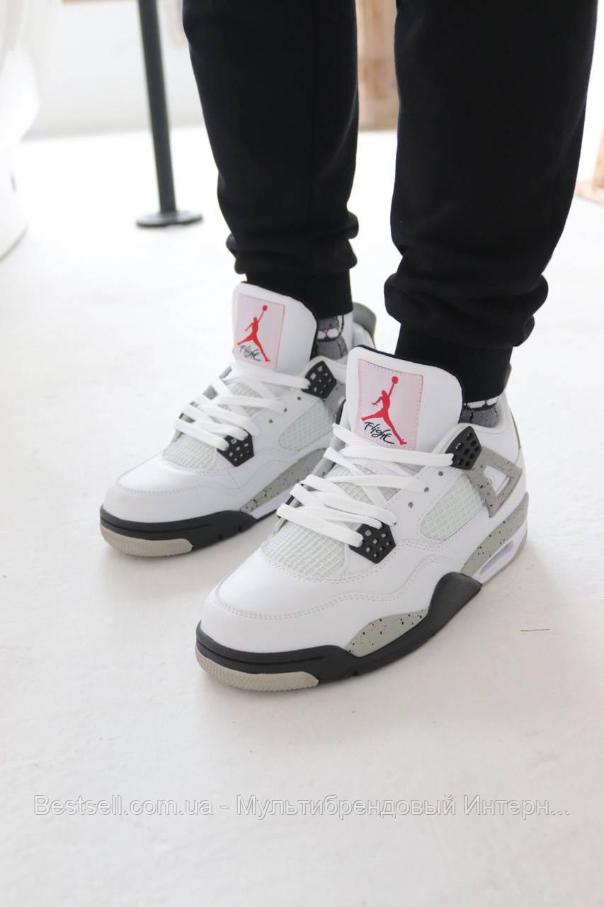 Кроссовки Nike Air Jordan 4 White Найк Аир Джордан 4 Белые (42,43,44)