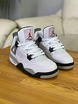 Кроссовки Nike Air Jordan 4 White Найк Аир Джордан 4 Белые (42,43,44), фото 2