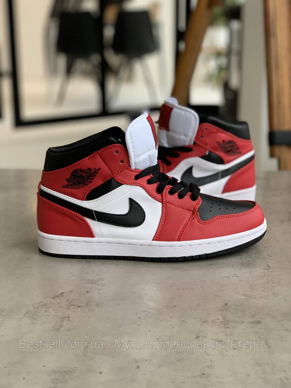 Кроссовки Nike Air Jordan 1 Retro Black&Red Найк Аир Джордан 1 Ретро Красно-чёрные (42,43,44,45)
