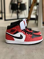 Кросівки Nike Air Jordan 1 Retro Black&Red Найк Аїр Джордан 1 Ретро Червоно-чорні (42,43,44,45), фото 2