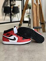 Кроссовки Nike Air Jordan 1 Retro Black&Red Найк Аир Джордан 1 Ретро Красно-чёрные (42,43,44,45), фото 3