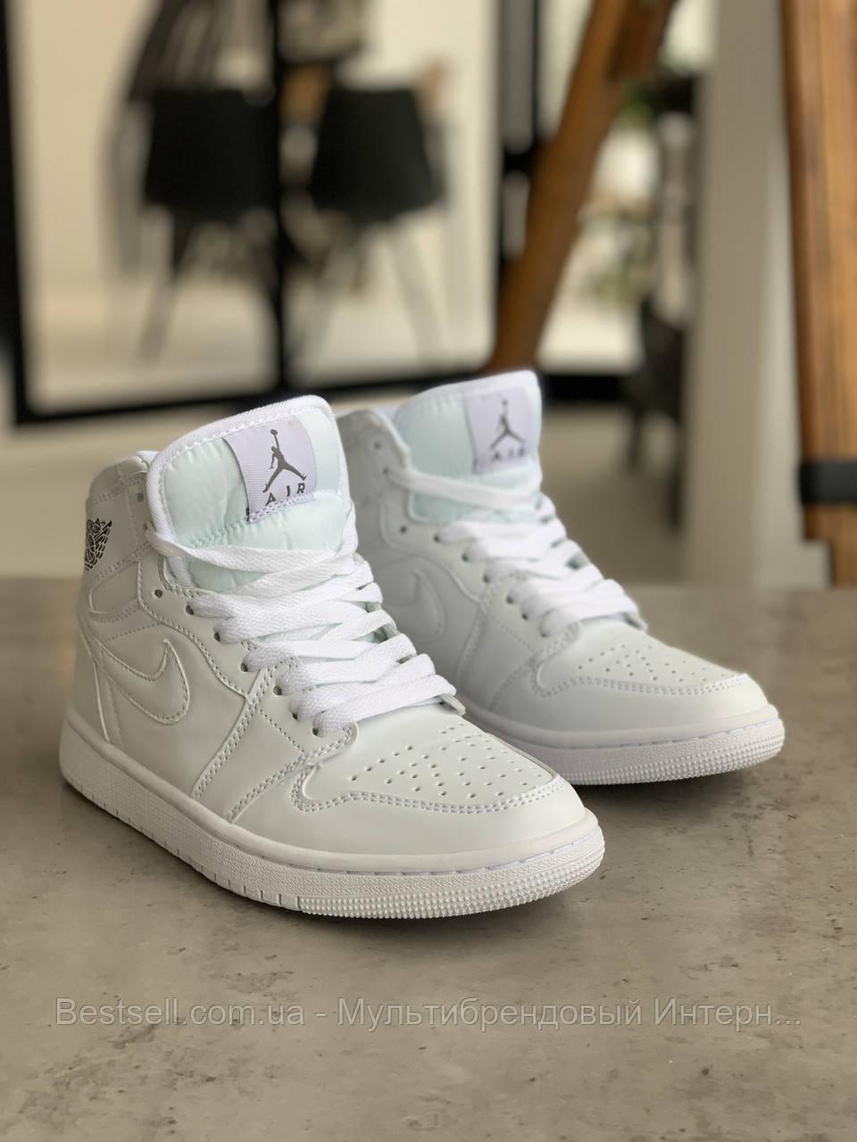 Кросівки Nike Air Jordan 1 Retro White Найк Аїр Джордан 1 Ретро Білі (41,42,43,44,45)