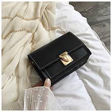 Женская классическая сумочка клатч через плечо на цепочке черная