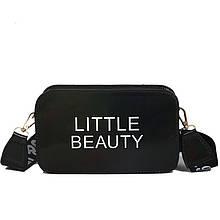 Жіноча дитяча прямокутна голографічна сумка через плече LITTLE BEAUTY чорна