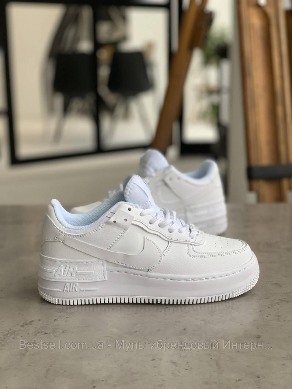 Кросівки Nike Air Force 1 White Shadow Найк Аір Форс 1 Білі (36,39,40)