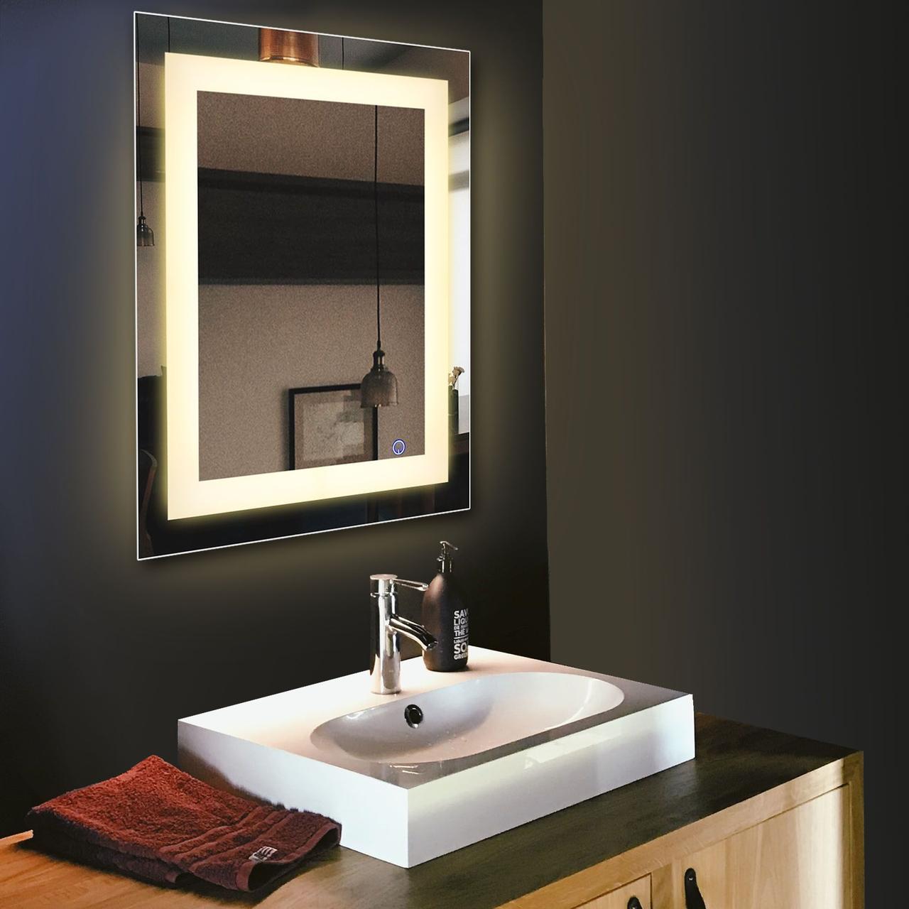 Зеркало с LED подсветкой 70х50 настенное ( для ванной комнаты)