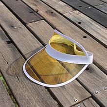Жіночий пластиковий прозорий козирок Жовтий
