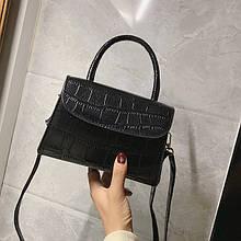 Женская классическая сумочка на ремешке крокодил рептилия змея черная
