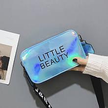 Жіноча дитяча прямокутна голографічна сумка через плече LITTLE BEAUTY блакитна синя