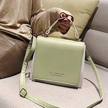 Жіноча класична сумка LYL FASHION на ремінці салатова хакі зелена
