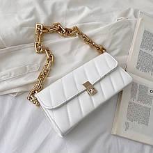 Женская классическая сумочка клатч на толстой цепочке белая