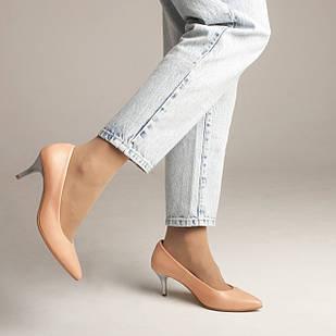 Туфли лодочки кожаные 36-40 Woman's heel персиковые с заостренным носком на каблуке