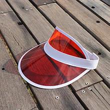 Женский пластиковый прозрачный козырёк  Красный