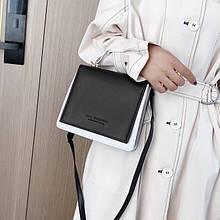 Жіноча класична сумка LYL FASHION на ремінці чорна біла