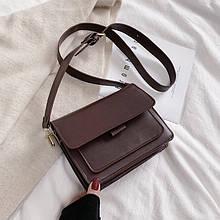 Женская классическая сумочка на ремне кросс-боди на три отдела темно коричневая