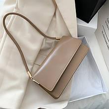 Женская классическая сумочка кофейная клатч бежевый
