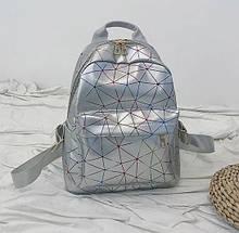 """Женский маленький рюкзак """"ПАУТИНКА"""" школьный портфель серый"""