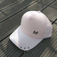 Кепка бейсболка с колечками розовая
