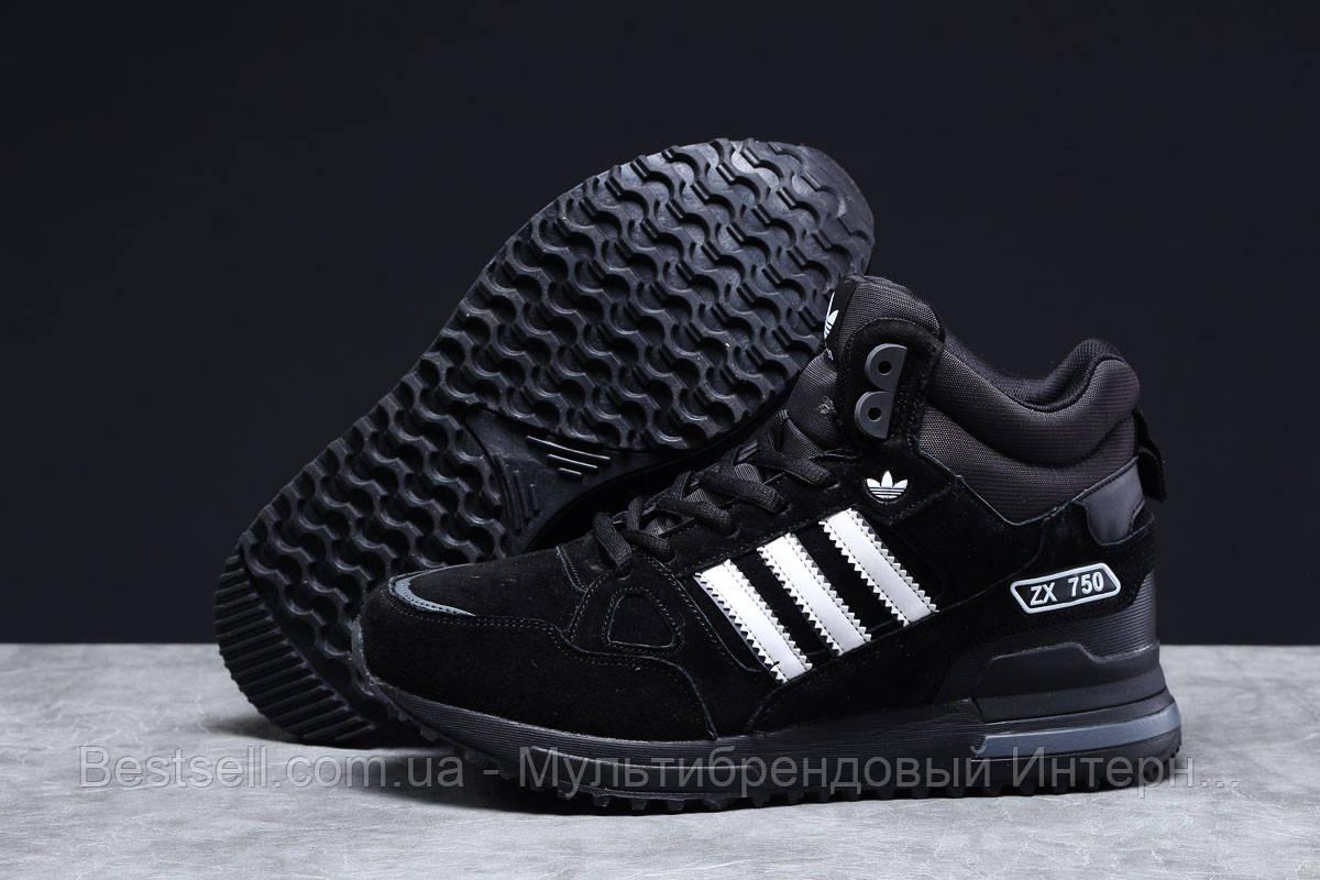 Зимние мужские кроссовки 31365, Adidas ZX 750 (мех), черные, [ нет в наличии ] р. 41-26,5см.
