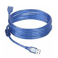 Кабель подовжувач USB 2.0 3.0 м (екранований, синій)