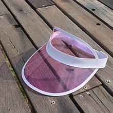 Жіночий пластиковий прозорий козирок Рожевий