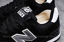 Зимові чоловічі кросівки 31395, New Balance 574 (хутро), чорні, [ немає ] р. 46-29,8 див., фото 3
