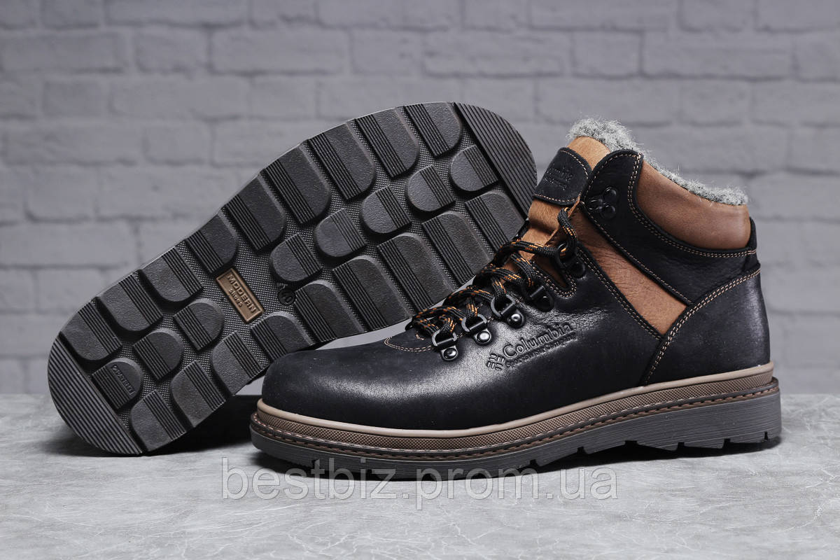 Зимние мужские ботинки 31502, Columbia Sportwear (мех), черные, [ 44 ] р. 42-28,0см.