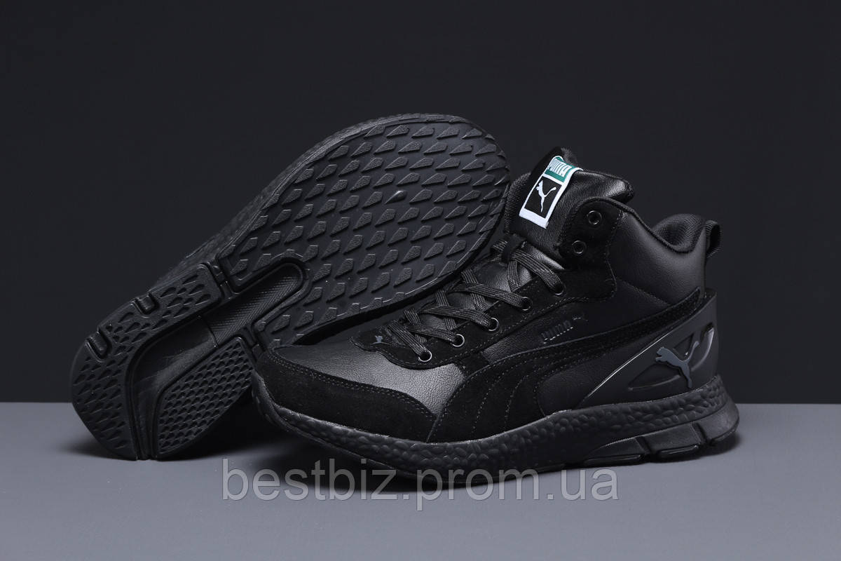 Зимние мужские кроссовки 31531, Puma (мех), черные, [ нет в наличии ] р. 41-26,0см.