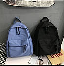 Рюкзак молодежный синий из плотного износостойкого холста., фото 3