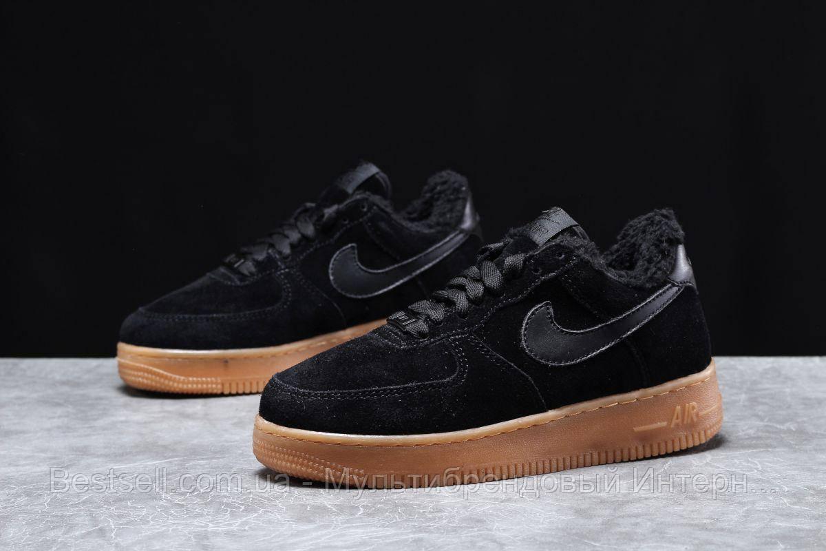 Зимние женские кроссовки 31741, Nike Air AF1 (мех), черные, [ 38,5 ] р. 36-23,0см.