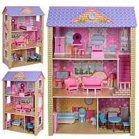 Деревянный домик для куклы MD 2009 трехэтажный с мебелью