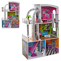 Деревянный домик для кукол MD 2012, (3 этажа) мебель, 113х74х29 см