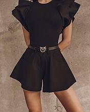 Жіночі шорти, креп - костюмка, р-р 42-44; 44-46 (чорний)