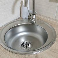 Круглая кухонная мойка Platinum 450 Satin 0,6мм