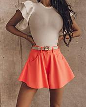 Женские шорты, креп - костюмка, р-р 42-44; 44-46 (оранж неон)