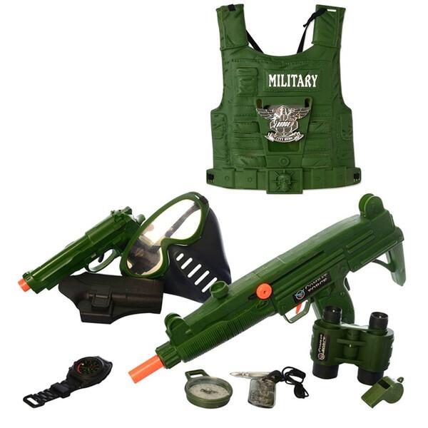 Військовий набір з жилетом дитячий з автоматом пістолетом і маскою (58192)