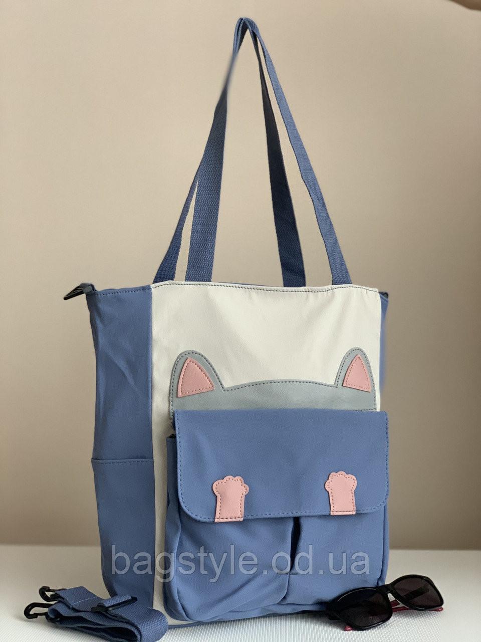 Тканинна сумка шоппер з котом