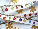 Лента репсовая, новогодняя. С разноцветными шариками. 23 мм