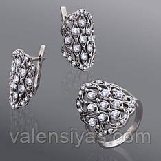 Набор серебряных украшений с чернением и фианитами