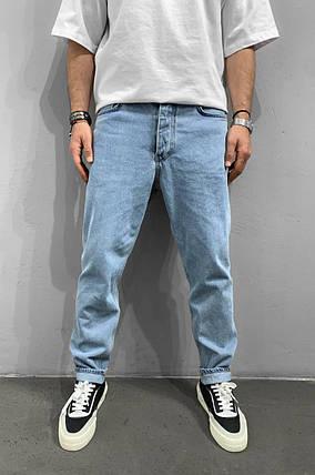 Мужские джинсы прямые МОМ голубого цвета, фото 2