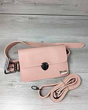 Женская сумка на пояс- клатч Арья пудрового цвета с черепашьем теснением