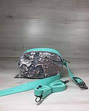Женская сумка на пояс- клатч WeLassie мятного цвета Пайетки серебро-серебро
