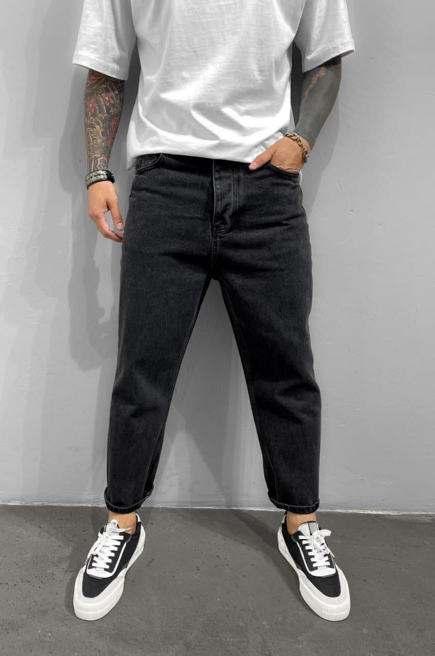 Чоловічі джинси прямі МОМ чорного кольору