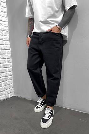 Чоловічі джинси прямі МОМ чорного кольору, фото 2