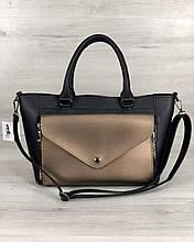 Женская стильная сумка «Сагари» черная с бронзой
